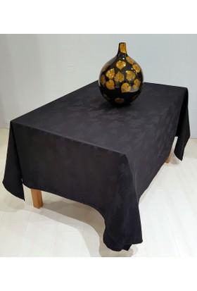 Misiny Yaprak Desenli Siyah Masa Örtüsü
