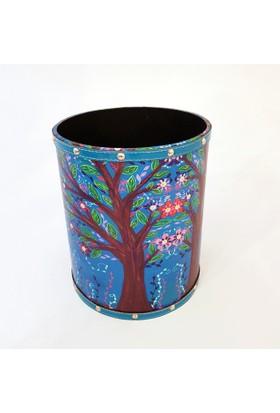 Misiny Ağaç Desenli Deri Çöp Kutusu Seti-006