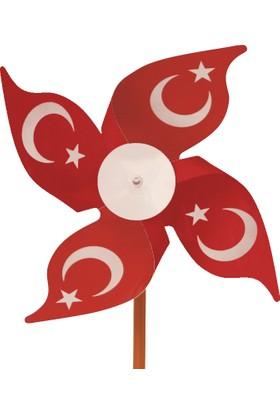 İnci Balon Türk Bayraklı Rüzgar Gülü 50'Li Paket