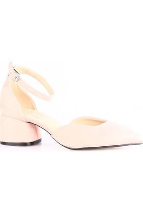 Dgn 027 Bayan Sivri Burun Bilekten Bağlı Parmak Dekolte Geniş Topuklu Ayakkabı