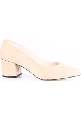Dgn 1004 Bayan Sivri Burun V Kesim Dekolte Kısa Topuklu Ayakkabı