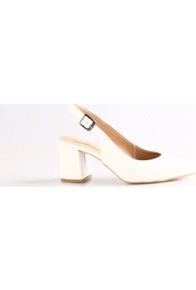 Dgn 585 Bayan Sivri Burun Ökçe Dekolte Kısa Topuklu Ayakkabı