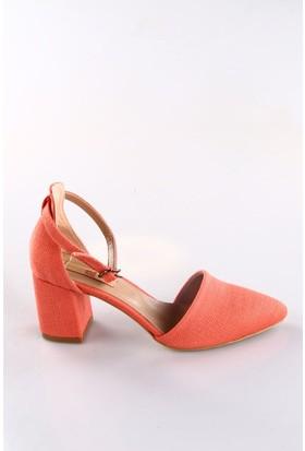 Dgn 587-K Bayan Keten Bilekten Bağlı Sivri Burun Topuklu Ayakkabı