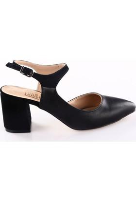 Dgn K720 Bayan Sivri Burun Kalın Topuklu Ayakkabı