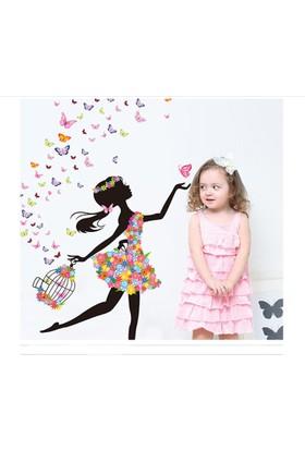 Zooyoo çocuk odası + kreş anaokulu balerin kız sihirli 3d kelebekler duvar sticker pvc