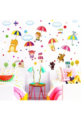 Zooyoo çocuk odası dekor renkli şemsiyeli asia hayvanları duvar dekor pvc sticker