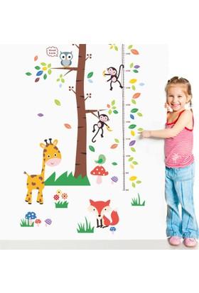 Zooyoo çocuk odası boy ölçer tablo asia hayvanları zürafa tilki baykuş maymun duvar pvc sticker