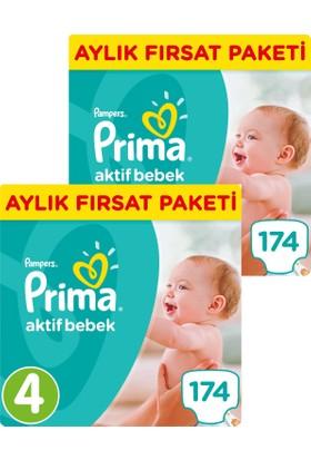 Prima Bebek Bezi Aktif Bebek 4 Beden Maxi Aylık Fırsat Paketi 174 x 2 (348 Adet)