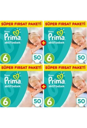 Prima Bebek Bezi Aktif Bebek 6 Beden Ekstra Large Aylık Fırsat Paketi 100 x 2 (200 Adet)
