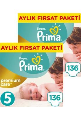 Prima Bebek Bezi Premium Care 5 Beden Junior Aylık Fırsat Paketi 136 x 2 (272 Adet)