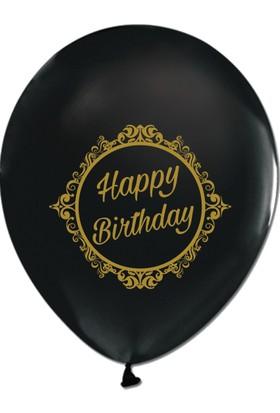 Kikajoy Gold Elegant Stripe Birthday Baskılı Siyah Balon