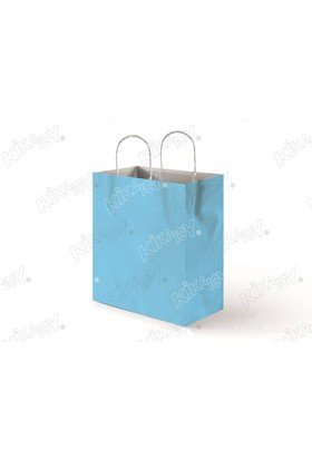 Kikajoy 18x24 Büküm Saplı Kağıt Poşet - Açık Mavi