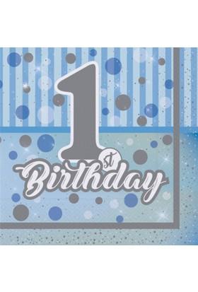 Kikajoy Pırıltılı First Birthday Mavi Peçete