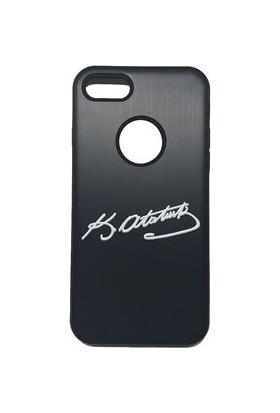 Vendas Apple iPhone 6/6S Atatürk İmzalı Siyah Silikon Kılıf + Ekran Koruyucu