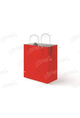 Kikajoy 18x24 Büküm Saplı Kağıt Poşet - Kırmızı