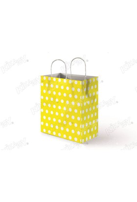 Kikajoy 18x24 Büküm Saplı Puanlı Kağıt Poşet - Sarı Puanlı