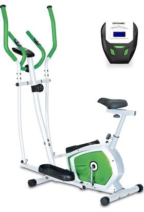 Dynamic E18 Seleli Manyetik Eliptik Bisiklet, Elden Nabız Ölçer, Yeşil Renk - 2 Yıl İnterspor Garantili