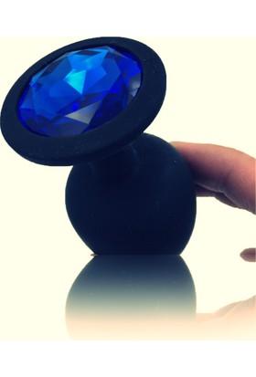 Pretty Love Mavi Renk Taşlı Lüks Silikon Siyah Anal Plug Anal Tıkaç 7 Cm