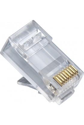 Whitecom 100 Adet Rj45 Jack Cat5 İnternet Kablo Kablosu Ucu Konnektör Connector
