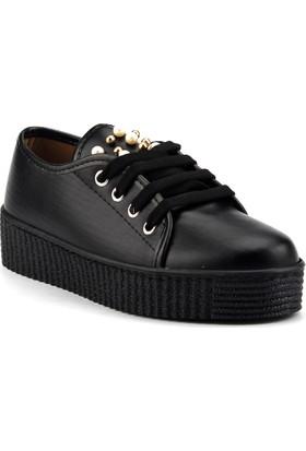 Ccway 1875 Siyah Kalın Taban Günlük Bayan Babet Ayakkabı