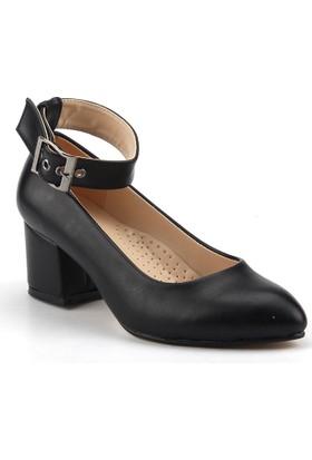 Femin 1295 Siyah 5,5 Cm Topuk Bilekten kemerli Bayan Cilt Ayakkabı