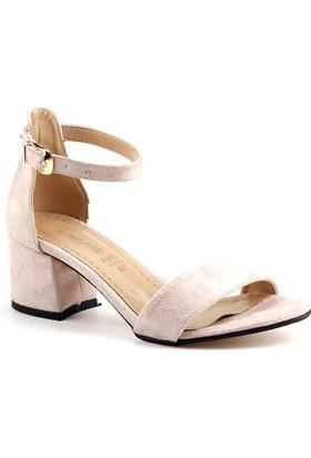 Ayakland Bsm 165 Pudra 5 Cm Topuk Bayan Süet Sandalet Ayakkabı