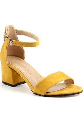 Ayakland Bsm 165 Hardal 5 Cm Topuk Bayan Süet Sandalet Ayakkabı