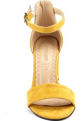 Ayakland Bsm 170 Hardal 7 Cm Topuk Bayan Süet Sandalet Ayakkabı