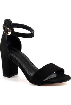Ayakland Bsm 170 Siyah 7 Cm Topuk Bayan Nubuk Sandalet Ayakkabı