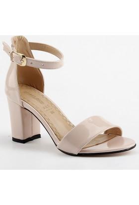 Ayakland Bsm 170 Pudra 7 Cm Topuk Bayan Rugan Sandalet Ayakkabı