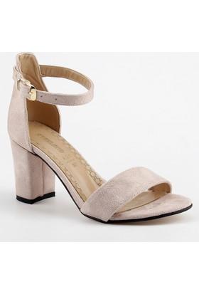 Ayakland Bsm 170 Pudra 7 Cm Topuk Bayan Süet Sandalet Ayakkabı
