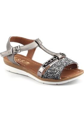 Ayakland Esf Gümüş Günlük Kemerli Bayan Sandalet Terlik