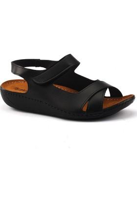 Muya 22273 Siyah Günlük Ortopedik Bayan Sandalet Ayakkabı