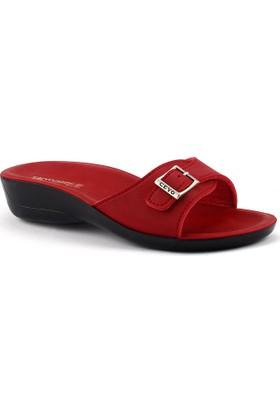 Ceyo Siena-2 Kırmızı Günlük Anatomik Bayan Terlik Ayakkabı