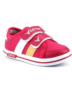 Lotix 27 Pembe Keten Günlük Cırtlı Kız Çocuk Spor Ayakkabı