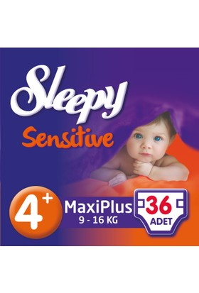 Sleepy Sensitive Bebek Bezi 4+ Beden Maxi Plus Jumbo Paket 36 Adet