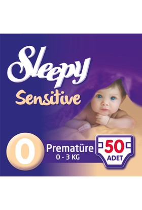 Sleepy Sensitive Bebek Bezi Premature 0 Beden Jumbo Paket 50 Adet