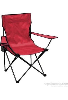 Kırmızı Katlanabilir Katlanır Kamp Sandalyesi Çantalı
