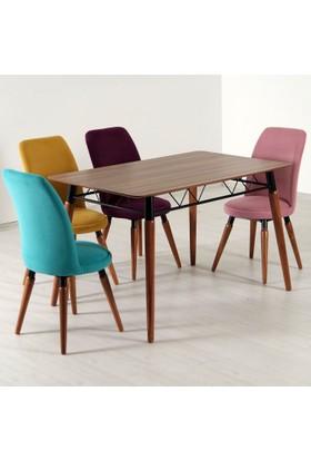Evform Stork 4 Kişilik Masa Sandalye Mutfak Masası Takımı Gökkuşağı Taytüyü