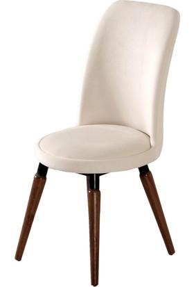 Evform Stork Tay Tüyü Kumaş Sandalye Beyaz