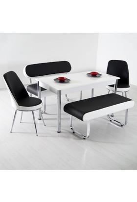 Evform Vega Banklı Masa Takımı Mutfak Masası Yemek Seti - Siyah