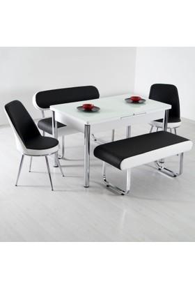Evform Vega Açılır Masalı Bank Takımı Mutfak Masası Yemek Seti - Siyah