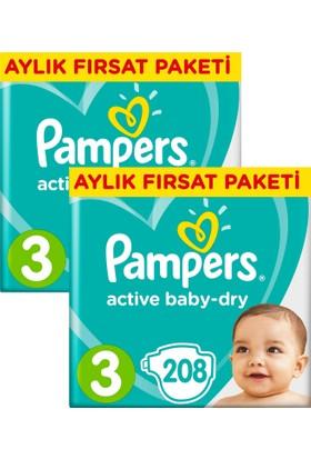 Prima Bebek Bezi Aktif Bebek 3 Beden Midi Aylık Fırsat Paketi 208X2 (416 adet)