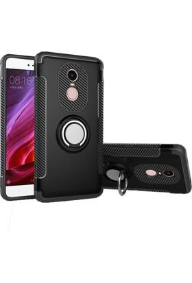 Case 4U Xiaomi Redmi Note 4X Kılıf Yüzüklü Darbeye Dayanıklı Siyah (Mıknatıslı Araç Tutucu Uyumlu)
