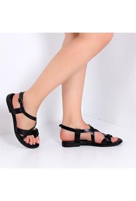 Pembe Potin Alaçatı Siyah Kadın Sandalet