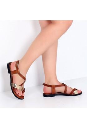Pembe Potin Alaçatı Taba Altın Kadın Sandalet
