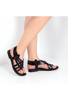 Pembe Potin Bodrum Siyah Kadın Sandalet