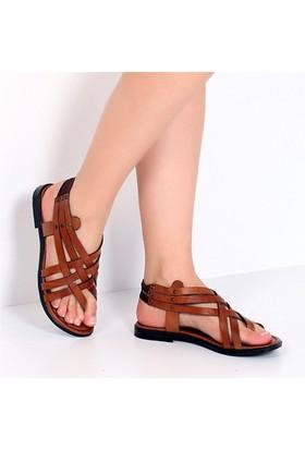 Pembe Potin Bodrum Taba Kadın Sandalet