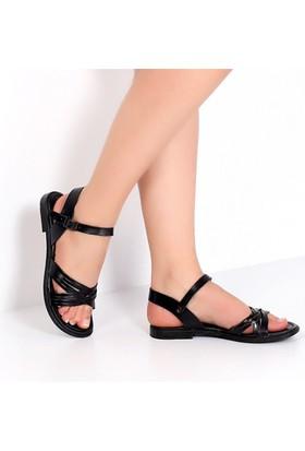Pembe Potin Cunda Siyah Kadın Sandalet