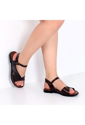 Pembe Potin Fethiye Kahve Kadın Sandalet